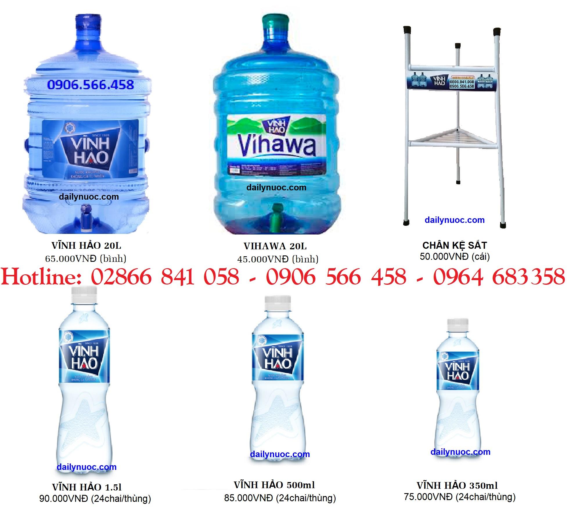 Giá nước uống Vihawa - Vĩnh Hảo bình 20l và chai nhỏ